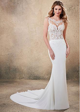 Marvelous Tulle & Chiffon Jewel Neckline Mermaid Wedding Dresses With Lace Appliques