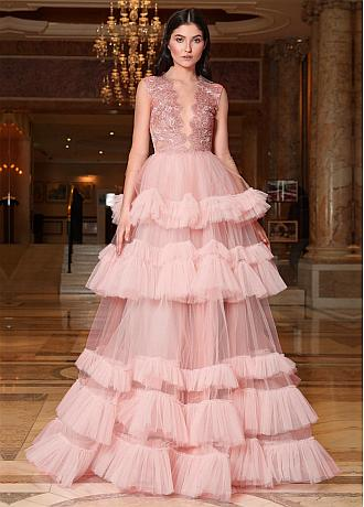 Brilliant Tulle Jewel Neckline Ball Gown Prom Dresses With Lace Appliques
