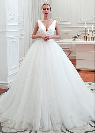 Sexy V-neck Ball Gown Wedding Dresses