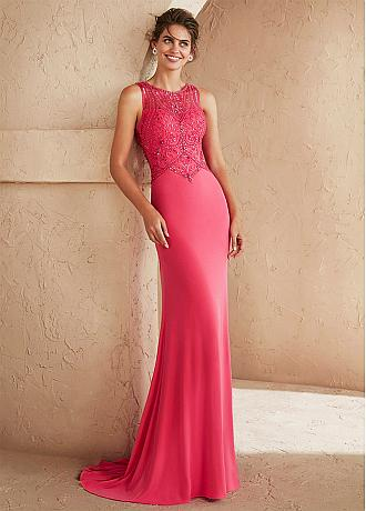 Captivating Tulle & Spandex Jewel Neckline Formal / Evening Dresses With Beadings