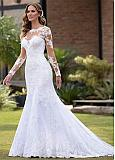 Stunning Tulle Bateau Neckline Full-length Mermaid Wedding Dresses With Beaded Lace Appliques