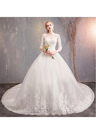 In Stock Delicate Tulle Jewel Neckline Ball Gown Wedding Dresses With Lace Appliques