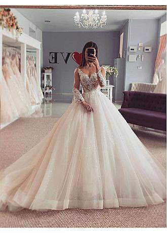 Charming Tulle & Sequin Tulle V-neck Neckline Ball Gown Wedding Dresses With Lace Appliques