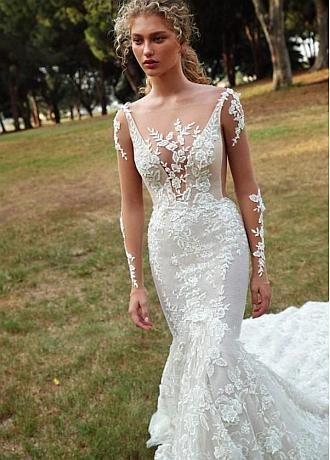 Junoesque Tulle Bateau Neckline Mermaid Wedding Dress With Beaadings & Lace Appliques