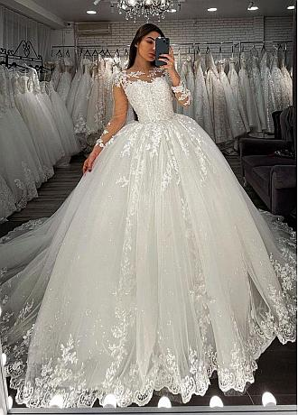 Fantastic Tulle & Sequin Tulle Jewel Neckline Ball Gown Wedding Dress With Lace Appliques & Beadings