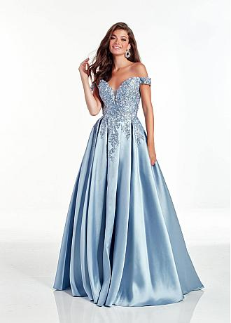 Pretty Satin Off-the-shoulder Neckline A-line Prom Dress With Lace Appliques & Rhinestones