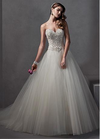 Gorgeous Tulle Sweetheart Neckline Basque Waistline Ball Gown Wedding Dress With Embroidery & Rhinestones