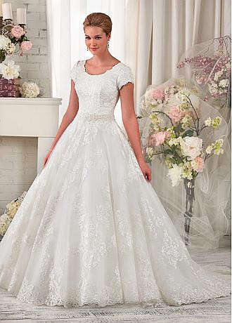 Gorgeous Tulle Scoop A-Line Wedding Dress with Lace Appliques & Beading & Rhinestones