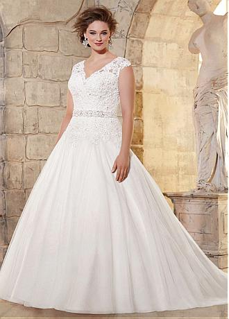 Elegant Tulle V-neck Neckline Ball Gown Plus Size Wedding Dress With Beaded Lace Appliques