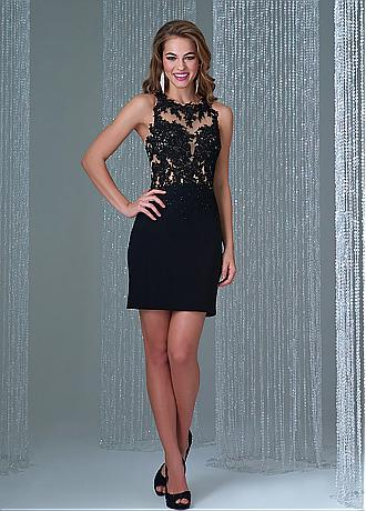 Brilliant Tulle & Chiffon Jewel Neckline Sheath See-through Cocktail Dresses With Beaded Lace Appliques