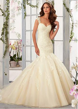 Stunning Tulle V-neck Neckline Mermaid Wedding Dresses with Beaded Lace Appliques