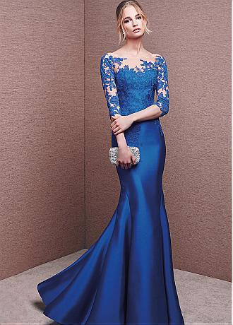 Stunning Tulle & Satin Bateau Neckline 3/4 Length Sleeves Mermaid Evening Dresses With Lace Appliques