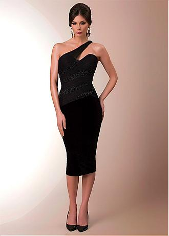 Fabulous Tulle & Chiffon One-shoulder Neckline Sheath Cocktail Dresses With Beadings