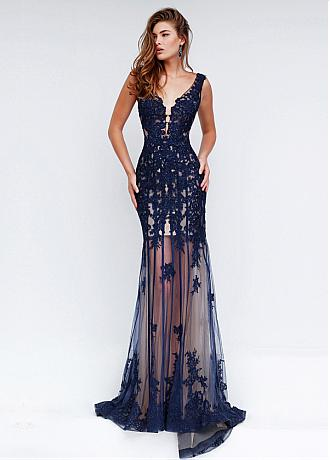 Fantastic Tulle & Stretch Satin See-through Sheath Evening Dresses With Beaded Lace Appliques