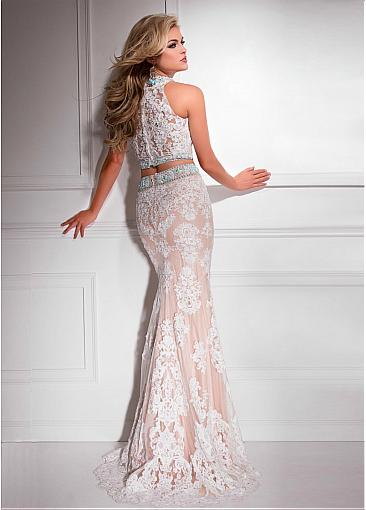 Fabulous Tulle & Satin Jewel Neckline Two-piece Mermaid Evening Dresses With Beaded Lace Appliques