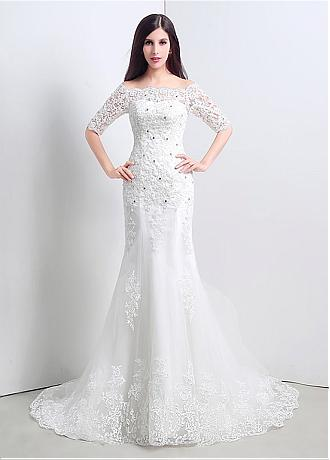 In Stock Charming Tulle Off-the-shoulder Mermaid Wedding Dresses With Lace Appliques