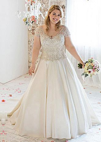 Alluring Tulle V-neck Neckline A-line Plus Size Wedding Dresses With Beaded Embroidery