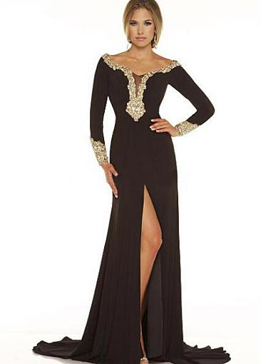 Attractive Chiffon Off-the-shoulder Sheath Evening Dresses With Beaded Lace Appliques