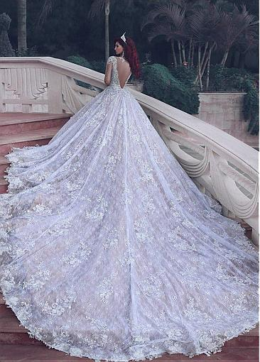 Marvelous Tulle Jewel Neckline A-Line Wedding Dresses with Lace Appliques & Beadings