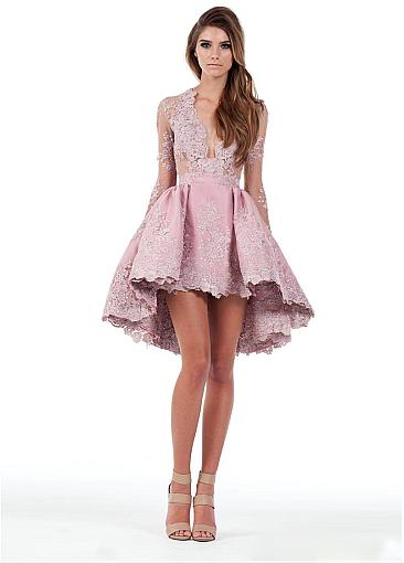 Eye-catching Tulle & Satin V-Neck A-Line Hi-lo Cocktail Dresses With Lace Appliques