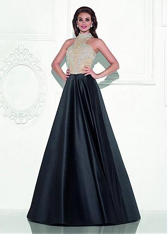 Junoesque Satin High Collar Neckline A-Line Prom Dresses With Beadings