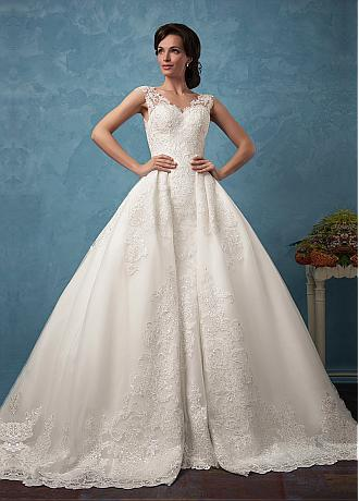 Amazing Tulle & Satin V-Neck 2 In 1 Wedding Dresses With Sequined Lace Appliques