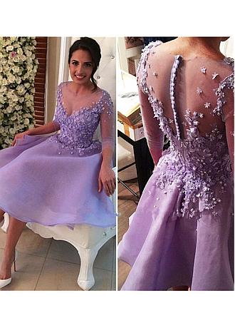 Lovely Organza Sheer Illusion Jewel Neckline A-line Homecoming Dresses With Lace Appliques & Handmade Flowers