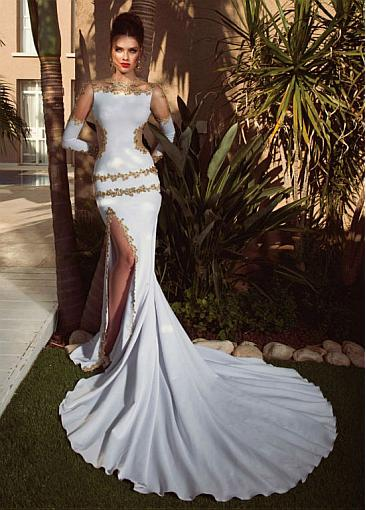 Exquisite Tulle & Acetate Satin Jewel Neckline Long Sleeves Mermaid Prom Dresses With Beaded Lace Appliques & Slit