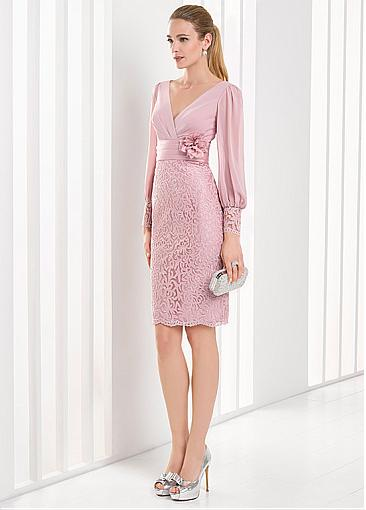 Excellent Chiffon & Lace V-neck Neckline Full Length Sleeves Sheath/Column Prom Dresses With Handmade Flowers