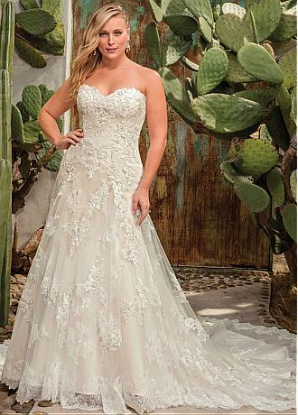 Amazing Tulle Sweetheart Neckline Plus Size A-line Wedding Dress With Lace Appliques & Beadings