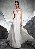 Wonderful Tulle & Chiffon Jewel Neckline A-line Wedding Dress With Beaded Lace Appliques