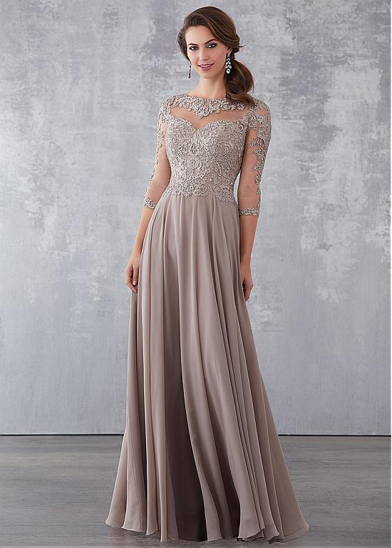 Delicate Tulle & Chiffon Bateau Neckline 3/4 Length Sleeves A-line Mother Of The Bride Dresses With Lace Appliques & Hot Fix Rhinestones