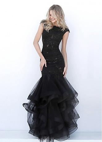 Sophisticated Tulle Bateau Neckline Mermaid Evening Dress With Beaded Lace Appliques