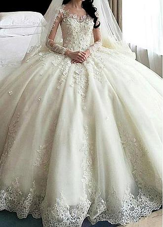 Amazing Tulle & Organza Jewel Neckline Ball Gown Wedding Dress With Lace Appliques & 3D Flowers & Beadings