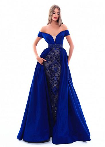 Pretty Taffeta Off-the-shoulder Neckline A-line Evening Dress With Beaded Lace Appliques & Beadings