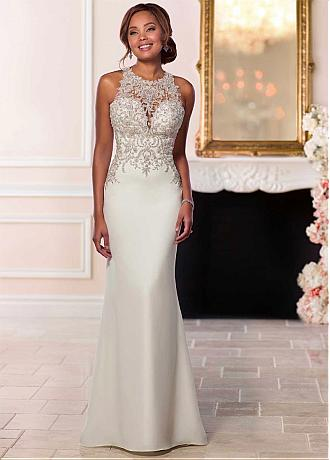 Attractive Tulle & Satin Jewel Neckline Natural Waistline Mermaid Wedding Dress With Beaded Lace Appliques