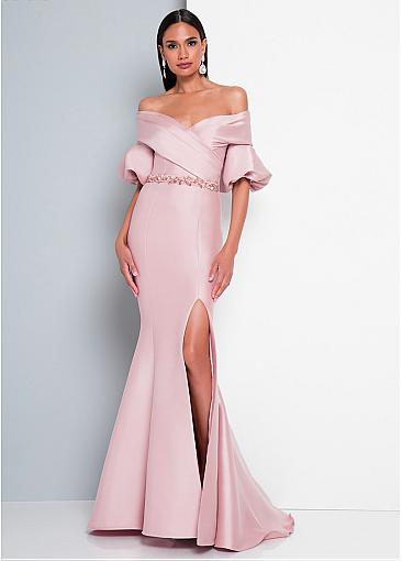 Attractive Satin Off-the-shoulder Neckline Floor-length Mermaid Prom Dresses With Beadings & Slit
