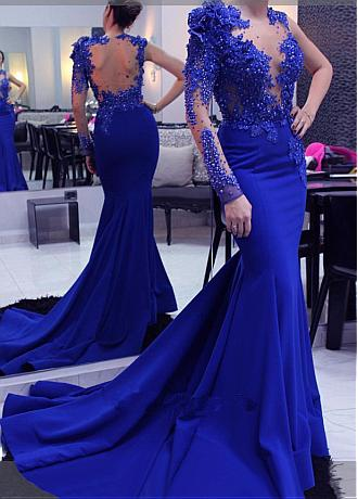 Fashionable Satin & Tulle Jewel Neckline Mermaid Evening Dress With Lace Appliques & Beadings & 3D Flowers