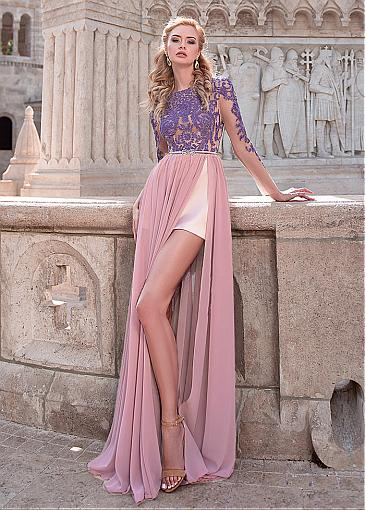 Charming Chiffon Jewel Neckline Long Sleeves A-line Evening Dress With Slit & Lace Appliques