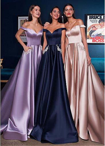 Eye-catching Satin Off-the-shoulder Neckline A-line Evening Dress With Pockets & Beadings