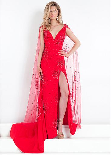 Luxury Tulle & Stretch Satin V-neck Neckline Cut-out Sheath/Column Prom Dress With Beadings & Slit