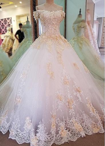 Glamorous Tulle Off-the-shoulder Neckline Ball Gown Wedding Dress With Lace Appliques & Beadings & 3D Flowers