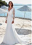 Graceful Tulle & Chiffon V-neck Neckline Mermaid Wedding Dress With Beaded Lace Appliques