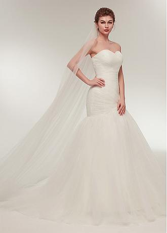 In Stock Fascinating Tulle Sweetheart Neckline Mermaid Wedding Dress With Pleats