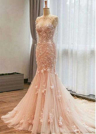 Fantastic Tulle Jewel Neckline Mermaid Wedding Dress With Lace Appliques & 3D Flowers & Beadings