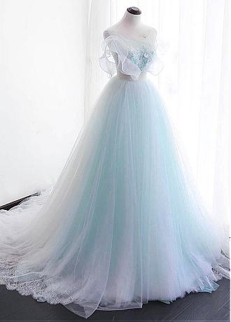 Fascinating Tulle & Organza Scoop Neckline A-line Wedding Dress With Lace Appliques & 3D Flowers