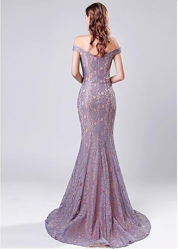 In Stock Graceful Lace Off-the-shoulder Neckline Mermaid Evening Dress
