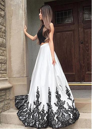 Absorbing Satin Bateau Neckline Two-piece A-line Evening Dress With Beaded Lace Appliques