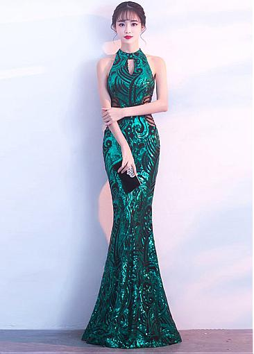 In Stock Glamorous Sequins Lace High Collar Neckline Floor-length Mermaid Evening Dress With Beadings