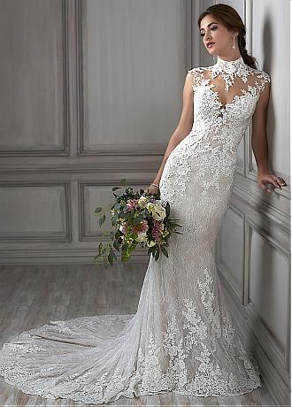 Marvelous Tulle & Lace Illusion High Collar Mermaid Wedding Dress With Beadings & Lace Appliques